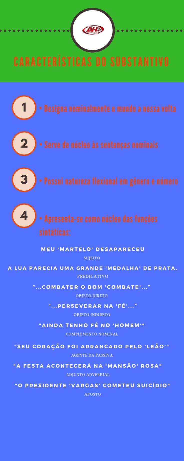 CARACTERÍSTICAS DO SUBSTANTIVO